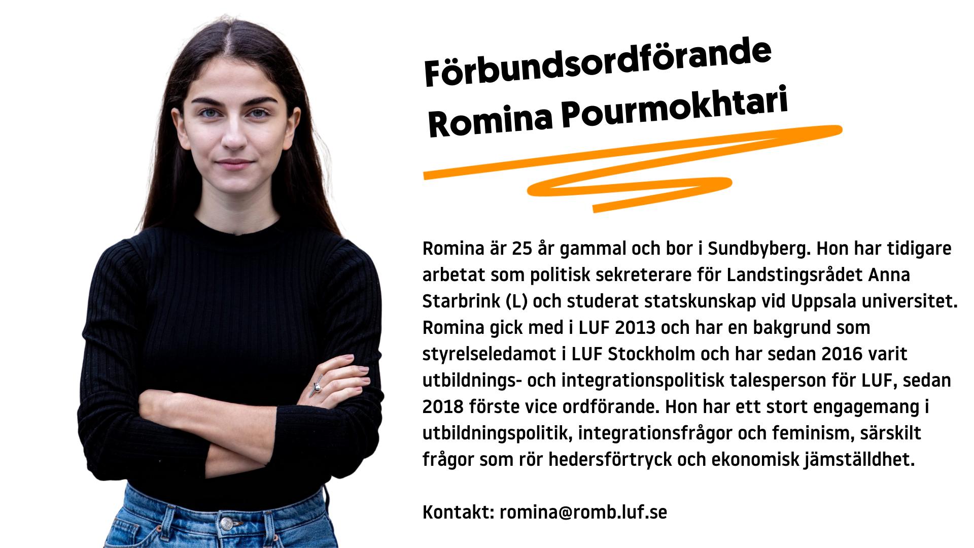 Information om förbundsordförande Romina Pourmokhtari